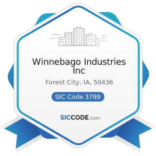 Winnebago Industries Inc - SIC Code 3799 - Transportation Equipment, Not Elsewhere Classified