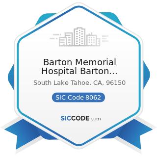 Barton Memorial Hospital Barton University - SIC Code 8062 - General Medical and Surgical...
