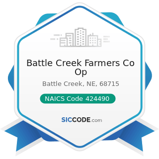 Battle Creek Farmers Co Op - NAICS Code 424490 - Other Grocery and Related Products Merchant...