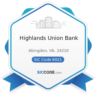 Highlands Union Bank - SIC Code 6021 - National Commercial Banks