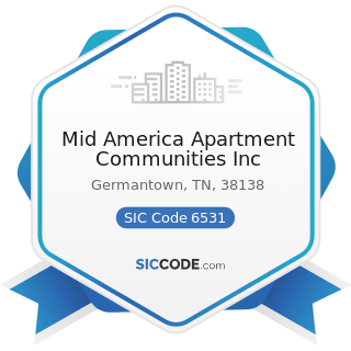 Mid America Apartment Communities Inc - SIC Code 6531 - Real Estate Agents and Managers