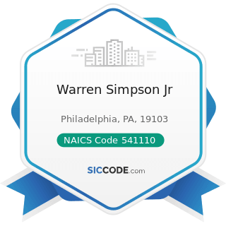 Warren Simpson Jr - NAICS Code 541110 - Offices of Lawyers