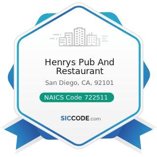 Henrys Pub And Restaurant - NAICS Code 722511 - Full-Service Restaurants