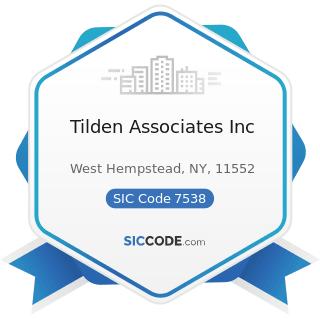 Tilden Associates Inc - SIC Code 7538 - General Automotive Repair Shops