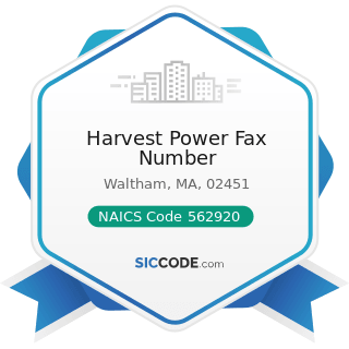 Harvest Power Fax Number - NAICS Code 562920 - Materials Recovery Facilities