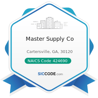 Master Supply Co - NAICS Code 424690 - Other Chemical and Allied Products Merchant Wholesalers