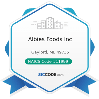 Albies Foods Inc - NAICS Code 311999 - All Other Miscellaneous Food Manufacturing