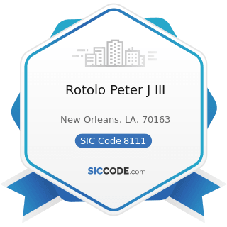 Rotolo Peter J III - SIC Code 8111 - Legal Services