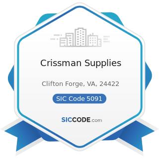 Crissman Supplies - SIC Code 5091 - Sporting and Recreational Goods and Supplies