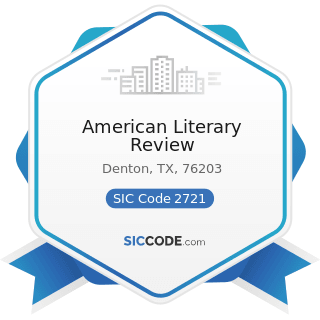 American Literary Review - SIC Code 2721 - Periodicals: Publishing, or Publishing and Printing