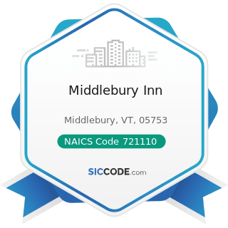 Middlebury Inn - NAICS Code 721110 - Hotels (except Casino Hotels) and Motels