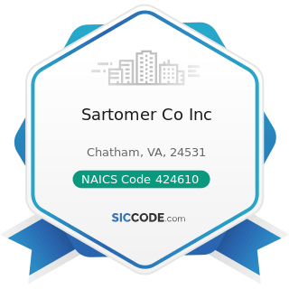 Sartomer Co Inc - NAICS Code 424610 - Plastics Materials and Basic Forms and Shapes Merchant...