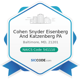 Cohen Snyder Eisenberg And Katzenberg PA - NAICS Code 541110 - Offices of Lawyers