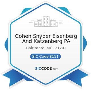 Cohen Snyder Eisenberg And Katzenberg PA - SIC Code 8111 - Legal Services