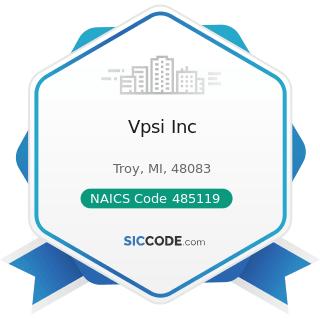 Vpsi Inc - NAICS Code 485119 - Other Urban Transit Systems