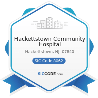 Hackettstown Community Hospital - SIC Code 8062 - General Medical and Surgical Hospitals