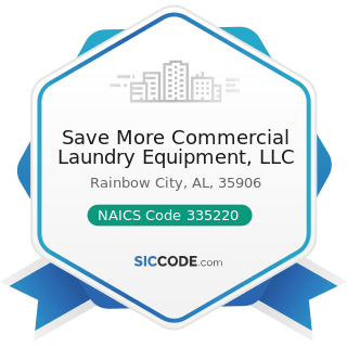 Save More Commercial Laundry Equipment, LLC - NAICS Code 335220 - Major Household Appliance...