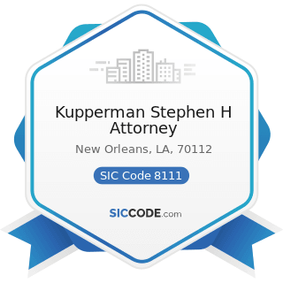 Kupperman Stephen H Attorney - SIC Code 8111 - Legal Services