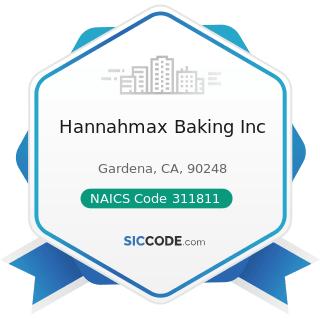 Hannahmax Baking Inc - NAICS Code 311811 - Retail Bakeries