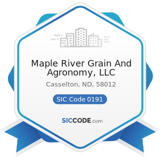 Maple River Grain And Agronomy, LLC - SIC Code 0191 - General Farms, Primarily Crop