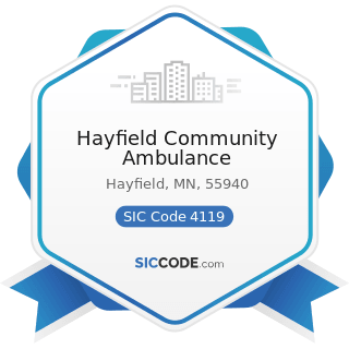 Hayfield Community Ambulance - SIC Code 4119 - Local Passenger Transportation, Not Elsewhere...