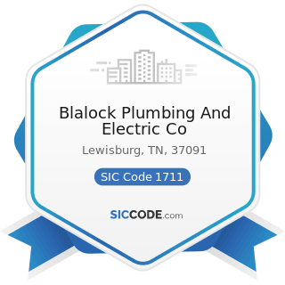 Blalock Plumbing And Electric Co - SIC Code 1711 - Plumbing, Heating and Air-Conditioning
