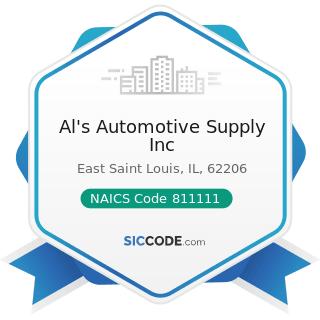 Al's Automotive Supply Inc - NAICS Code 811111 - General Automotive Repair