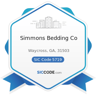 Simmons Bedding Co - SIC Code 5719 - Miscellaneous Home Furnishings Stores