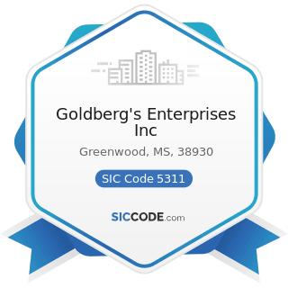 Goldberg's Enterprises Inc - SIC Code 5311 - Department Stores