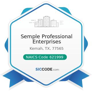 Semple Professional Enterprises - NAICS Code 621999 - All Other Miscellaneous Ambulatory Health...