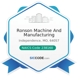 Ronson Machine And Manufacturing - NAICS Code 238160 - Roofing Contractors