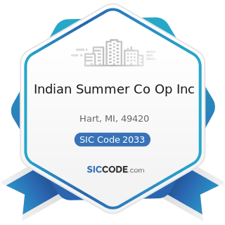 Indian Summer Co Op Inc - SIC Code 2033 - Canned Fruits, Vegetables, Preserves, Jams, and Jellies