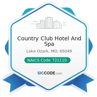 Country Club Hotel And Spa - NAICS Code 721110 - Hotels (except Casino Hotels) and Motels