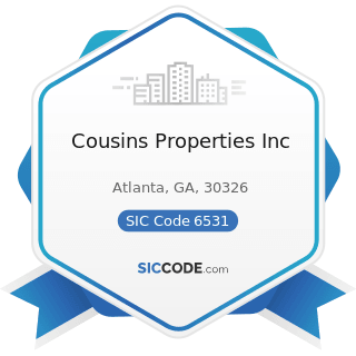 Cousins Properties Inc - SIC Code 6531 - Real Estate Agents and Managers