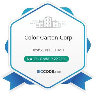 Color Carton Corp - NAICS Code 322211 - Corrugated and Solid Fiber Box Manufacturing