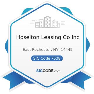 Hoselton Leasing Co Inc - SIC Code 7538 - General Automotive Repair Shops