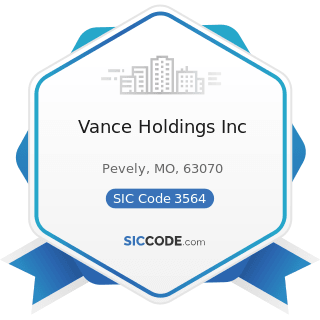 Vance Holdings Inc - SIC Code 3564 - Industrial and Commercial Fans and Blowers and Air...