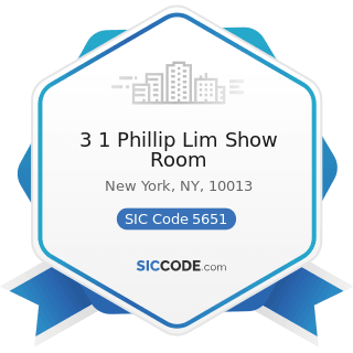 3 1 Phillip Lim Show Room - SIC Code 5651 - Family Clothing Stores