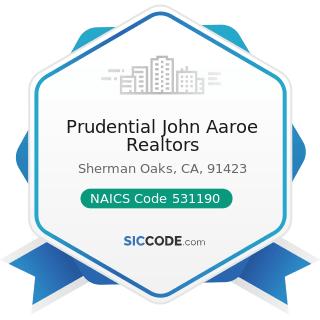 Prudential John Aaroe Realtors - NAICS Code 531190 - Lessors of Other Real Estate Property