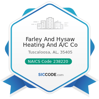 Farley And Hysaw Heating And A/C Co - NAICS Code 238220 - Plumbing, Heating, and...