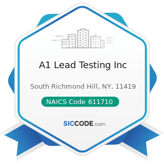 A1 Lead Testing Inc - NAICS Code 611710 - Educational Support Services