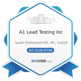 A1 Lead Testing Inc - SIC Code 8748 - Business Consulting Services, Not Elsewhere Classified