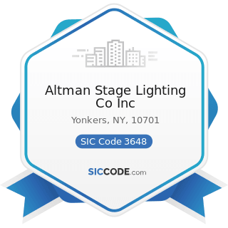 Altman Stage Lighting Co Inc - SIC Code 3648 - Lighting Equipment, Not Elsewhere Classified