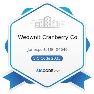 Weownit Cranberry Co - SIC Code 2033 - Canned Fruits, Vegetables, Preserves, Jams, and Jellies
