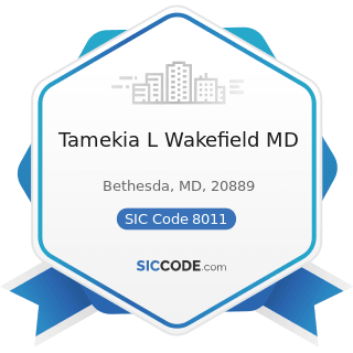 Tamekia L Wakefield MD - SIC Code 8011 - Offices and Clinics of Doctors of Medicine