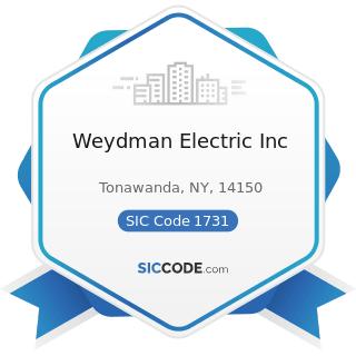 Weydman Electric Inc - SIC Code 1731 - Electrical Work
