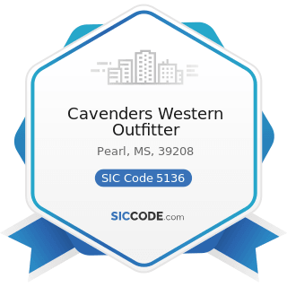 Cavenders Western Outfitter - SIC Code 5136 - Men's and Boy's Clothing and Furnishings