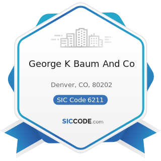 George K Baum And Co - SIC Code 6211 - Security Brokers, Dealers, and Flotation Companies
