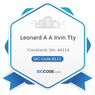 Leonard A A Irvin Tty - SIC Code 8111 - Legal Services