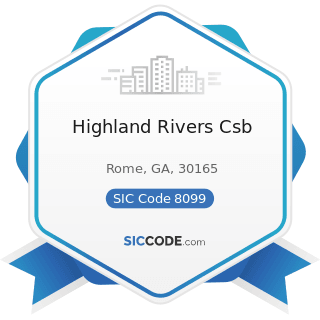 Highland Rivers Csb - SIC Code 8099 - Health and Allied Services, Not Elsewhere Classified